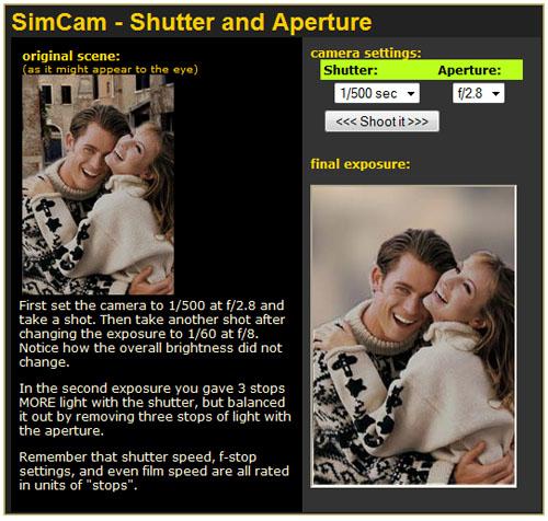 SimCam Abertura e velocidade1 SimCam, um simulador de câmera