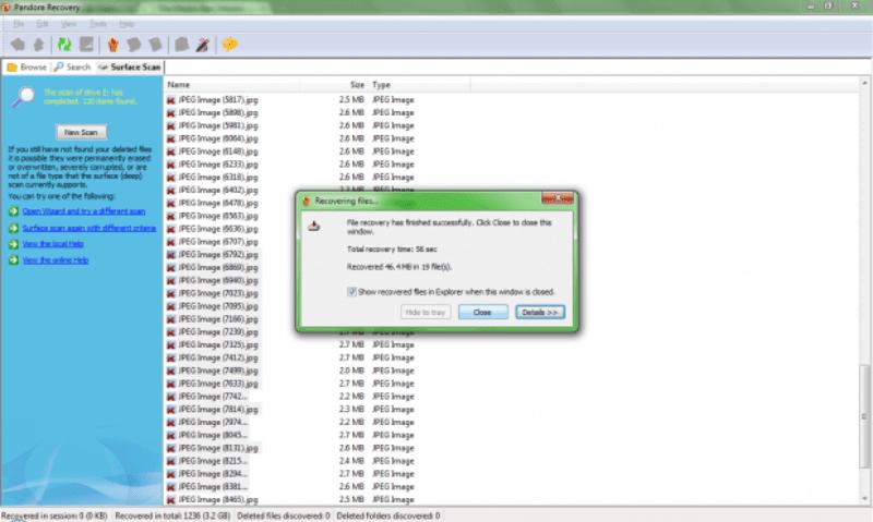 Este é o aviso quando o programa termina de recuperar. 619x371 Como recuperar fotos dos cartões de memória corrompidos