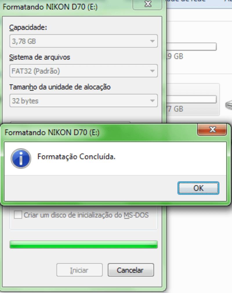 Formatação concluida Como recuperar fotos dos cartões de memória corrompidos