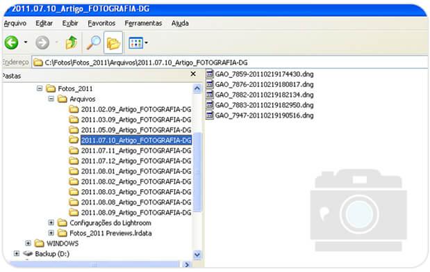 Detalhe de como ficam os nomes dos arquivos e pastas