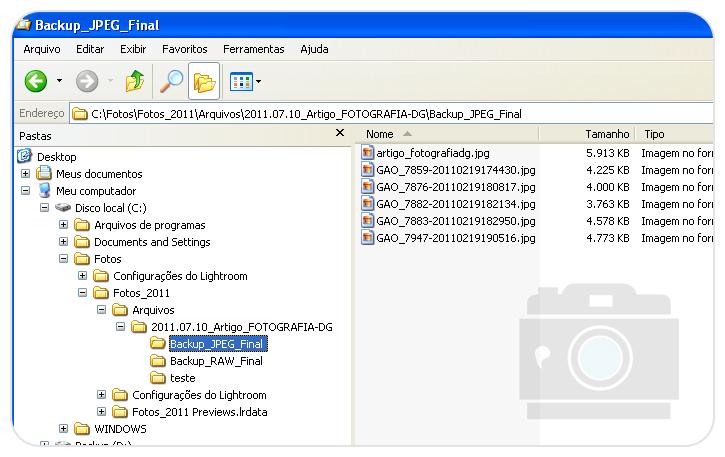 Detalhes de como fica a hierarquia das pastas e formato das imagens JPEG