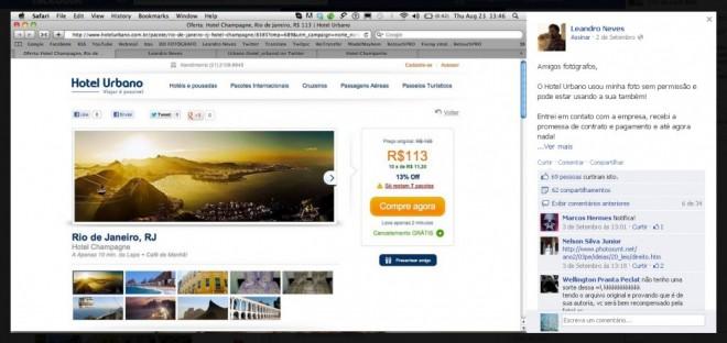 Fotógrafo denunciando sua foto roubada, usada no site de um Hotel