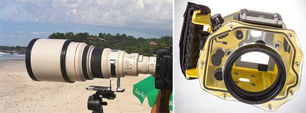 Fig.2 e 3 – Lente Teleobjetiva 400mm f/2.8 e Caixa Estanque para câmera DSLR.