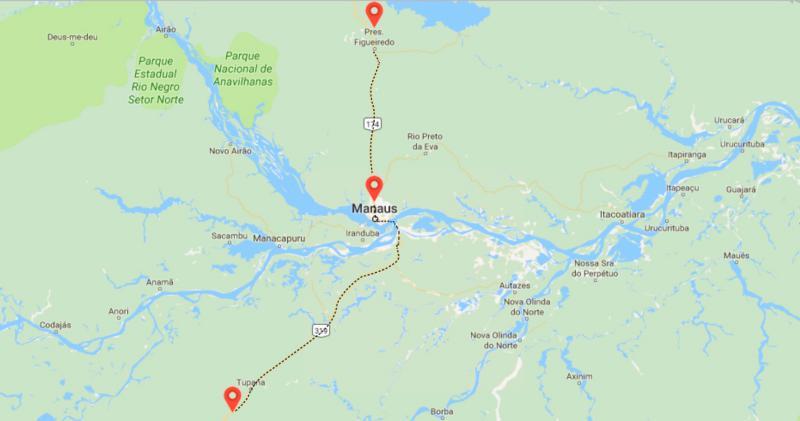 Figura 1: A rota da expedição se extendeu entre os municípios de Presidente Figueiredo (ao Norte) e Beruri (ao Sul).