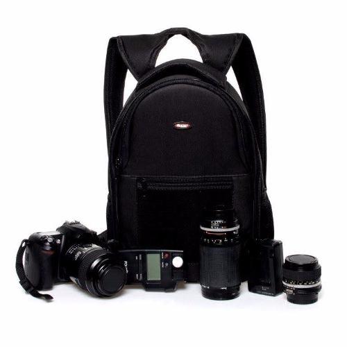 Mochila Preta Para Fotógrafo Profissional DSLR